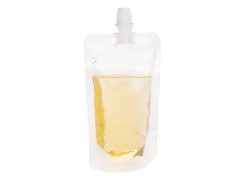 Transparent juice pouch with spout at center