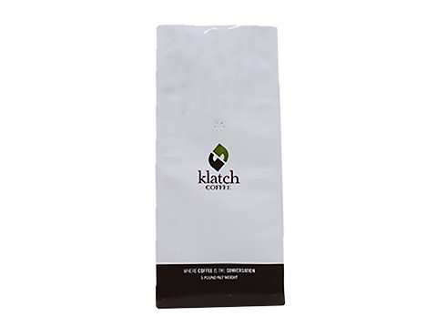 White print flat bottom coffee pouch with valve
