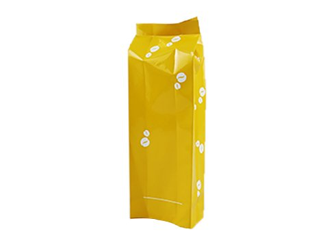 Yellow aluminum side gusset coffee pouch with print