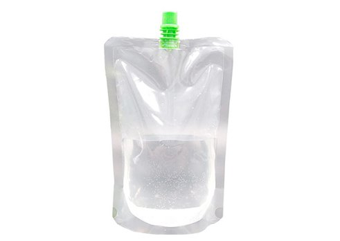 clear spouted beverage pouch