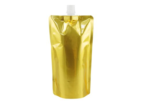 gold stand up beverage pouch with spout