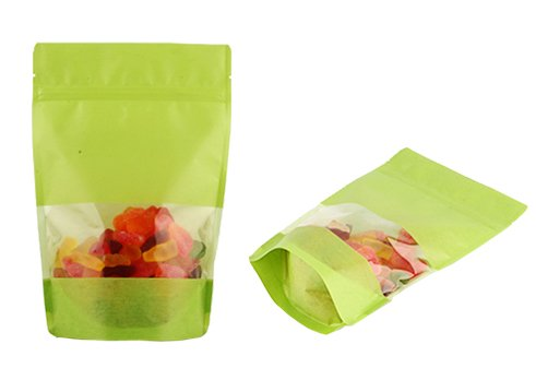 green stand up sugar pouch with window