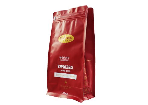 450g flexible Quad Seal flat bottom coffee pouches bag with pocket zipper