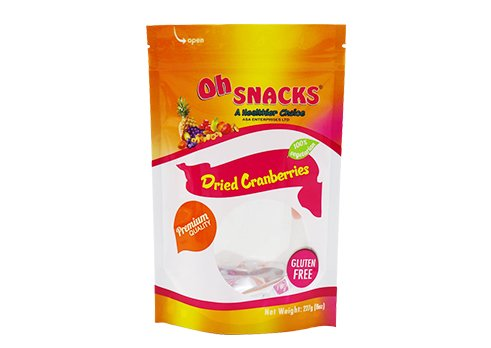 Customized printing flexible packaging aluminum foil stand up snack pouch with resealable ziplock with transparent window