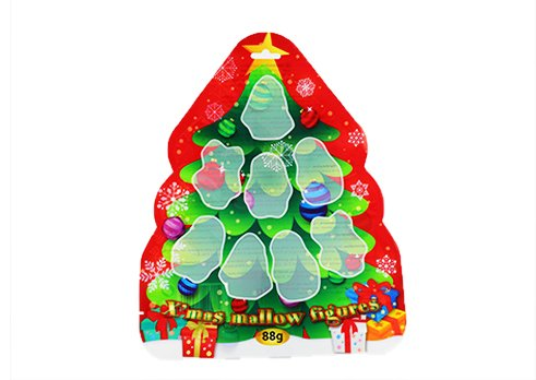 Customized printing flexible packaging stand up shaped pouch for Christmas snack pouch