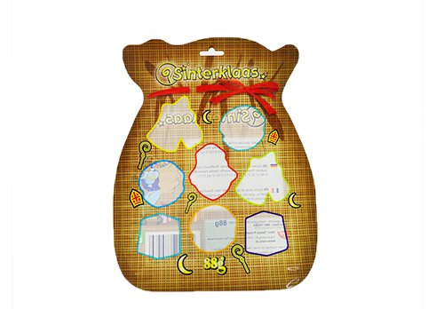 Customized printing flexible packaging stand up shaped pouch for Christmas snack pouch with transparent window