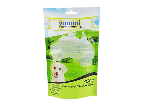 Customized printing flexible packaging stand up window pouch for pet food with resealable zipper