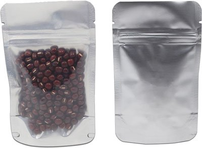 Laminated pouches with zippers.