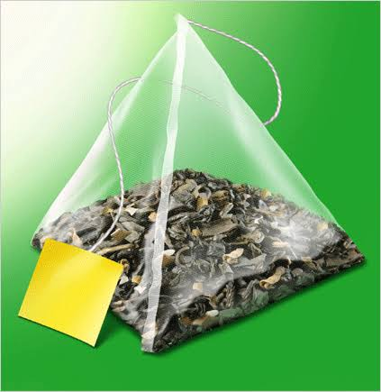 pyramid-shaped tea pouch