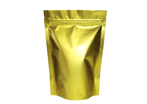 Overall gold color stand up pouch with resealable zipper for sea food packaging