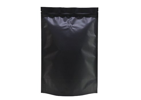 Overall matte black color stand up pouch with resealable zipper for sea food packaging