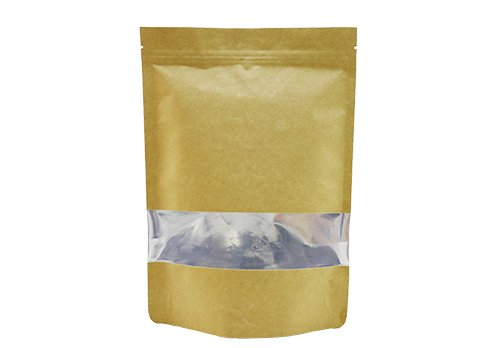 flexible Brown kraft paper Aluminum Foil pouches Bags with window with ziplock