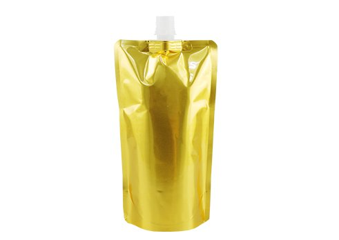 Flexible Packaging Pouches Aluminum Foil Bag Stand Up Spout Pouch with Gold Printing with Spout for Drink