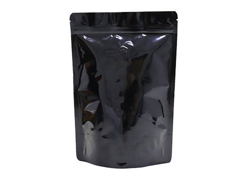 flexible packaging pouches black printing stand up pouches for 12oz coffee with valve with ziplock