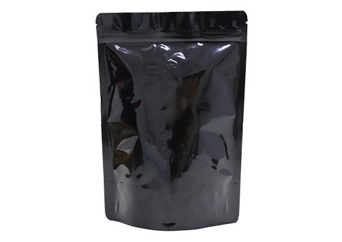 Flexible packaging pouches black printing stand up pouches snack pouche with valve with ziplock