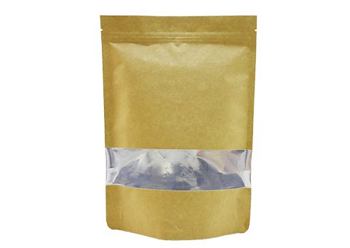 flexible packaging pouches recyclable Brown Kraft paper stand up tea pouch with resealable ziplock with transparent window