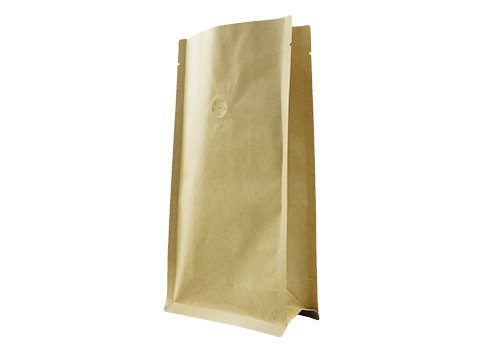 flexible packaging pouches recyclable Brown flat bottom quad seal bag for coffee with ziplock