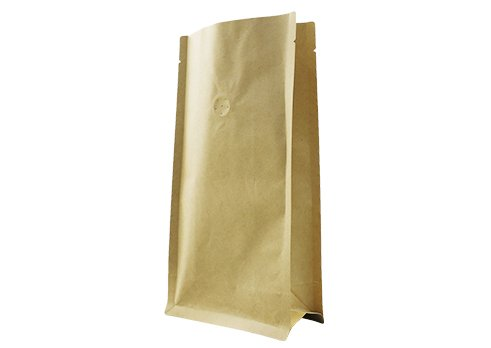 flexible packaging pouches recyclable Brown flat bottom quad seal tea bag with resealable ziplock
