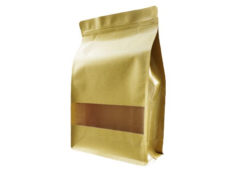 flexible packaging pouches recyclable Brown kraft paper pouch for tea with window with ziplock