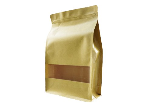 flexible packaging pouches recyclable Brown kraft paper pouch with window with ziplock