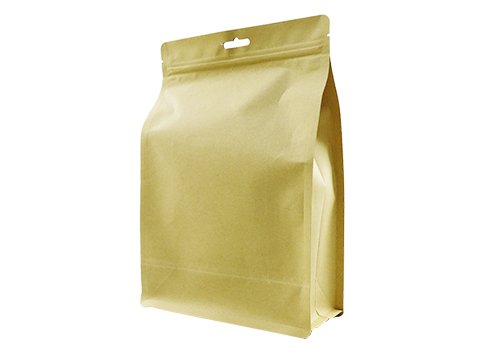 flexible packaging pouches recyclable Quad seal flat bottom bag for 1500g coffee with resealable ziplock with euro hole
