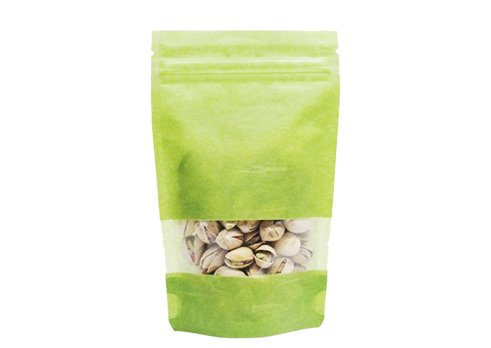 flexible packaging pouches recyclable Rice paper stand up window pouch with resealable ziplock