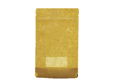 flexible packaging recyclable Brown Kraft paper stand up window pouches wth resealable zipper