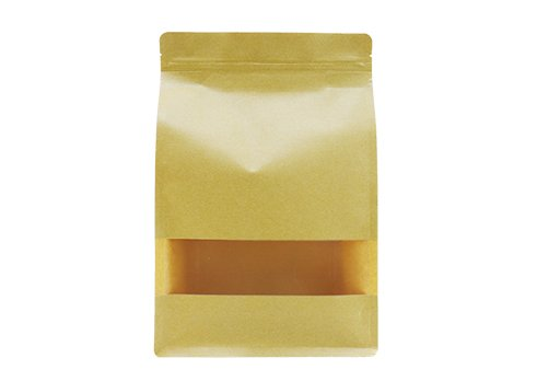 flexible packaging recyclable Quad seal flat bottom window pouch bag for 1500g coffee with resealable ziplock