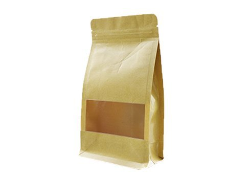 flexible packaging window pouch recyclable Brown kraft paper pouch with ziplock