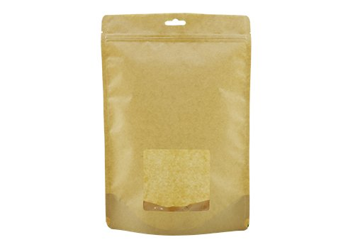 flexible packaging window pouch recyclable Brown kraft paper stand up pouch with ziplock with handle hole