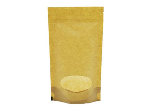 flexible packaging window pouch recyclable Brown kraft paper stand up pouch with ziplock