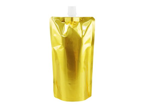 flexible plastic packaging pouches Aluminum foil bag Stand up spout pouch with Gold ptinting with spout for drink