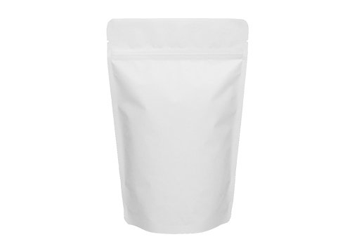 flexible white matte stand up pouch with ziplock
