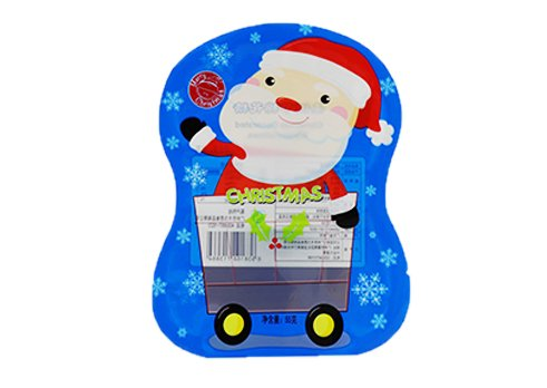 Snack pouch with customizd printing with transparent window for christmas candy packaging