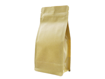13-recyclable brown kraft paper laminated flat bottom pouch bag