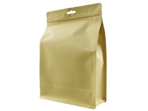 14-recyclable brown kraft paper laminated flat bottom pouch bag with ziplock