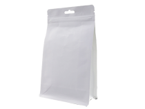17-recyclable white kraft paper laminated flat bottom pouch bag with ziplock