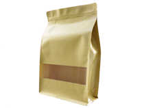 24-recyclable brown kraft paper flat bottom pouch bag with window