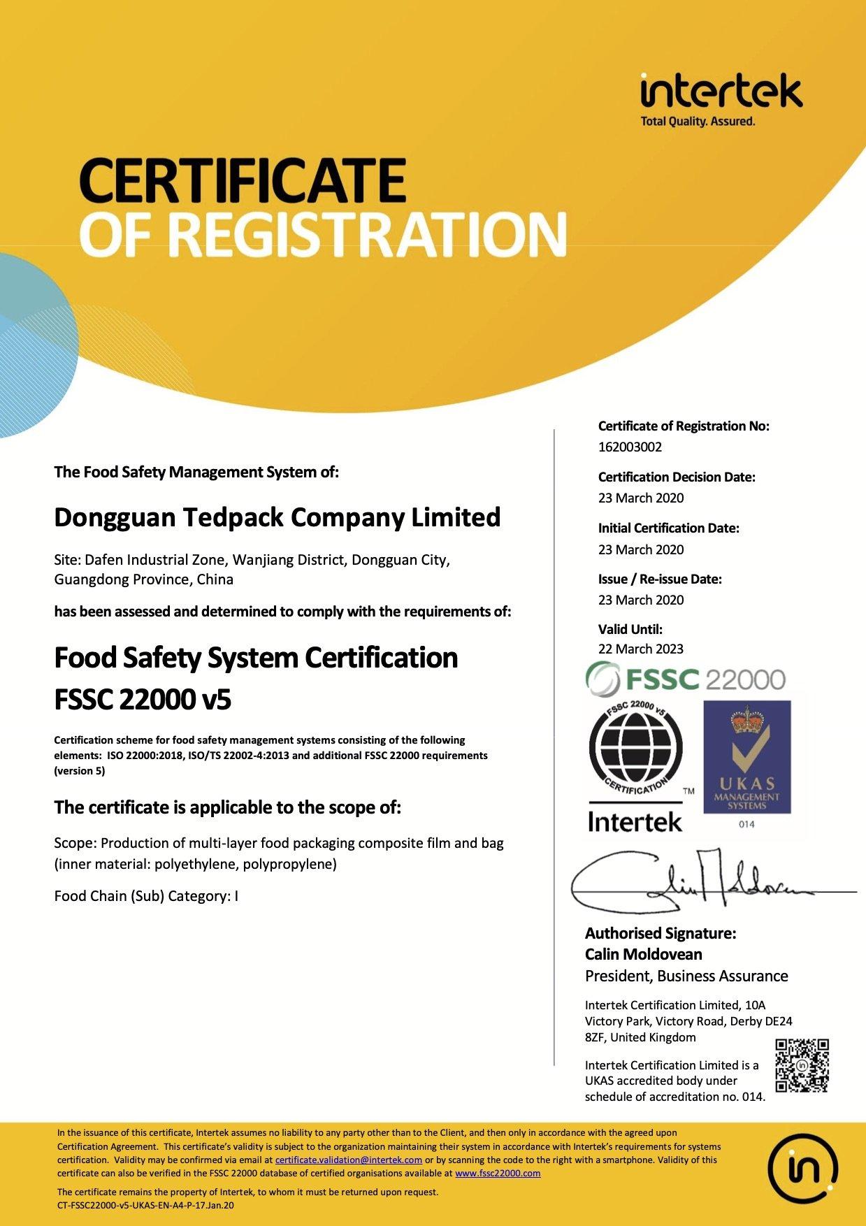 Tedpack certifications