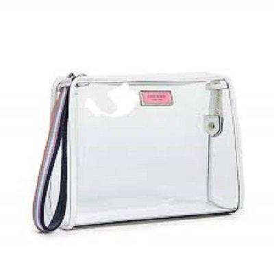 Plain white cosmetic pouch bag