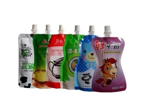 an array of custom printed juice pouch bags