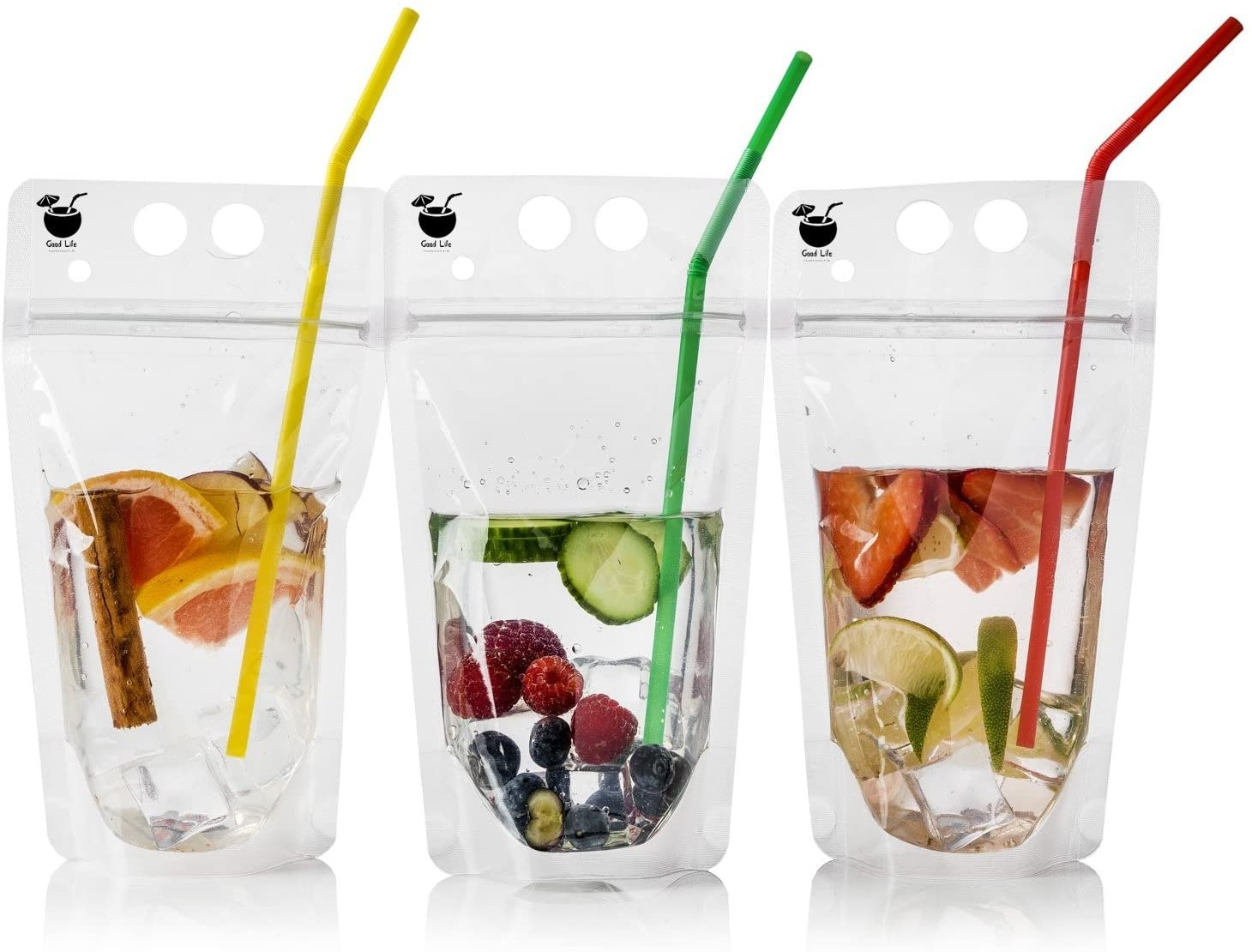 isposable juice pouches with straws
