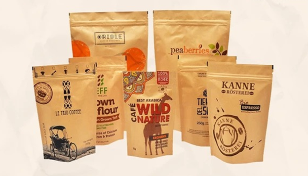 an array of custom printed kraft paper pouches