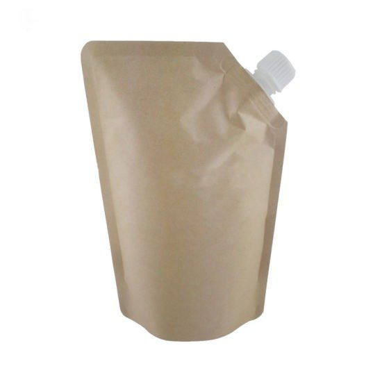 kraft paper pouch with spout closure to prevent spillage