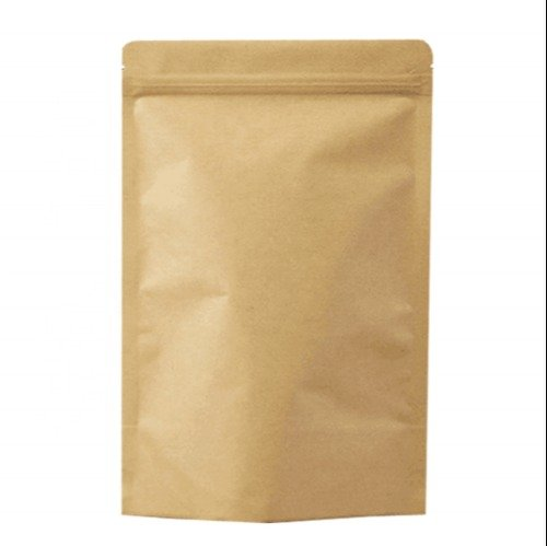 slider closure on kraft paper pouch