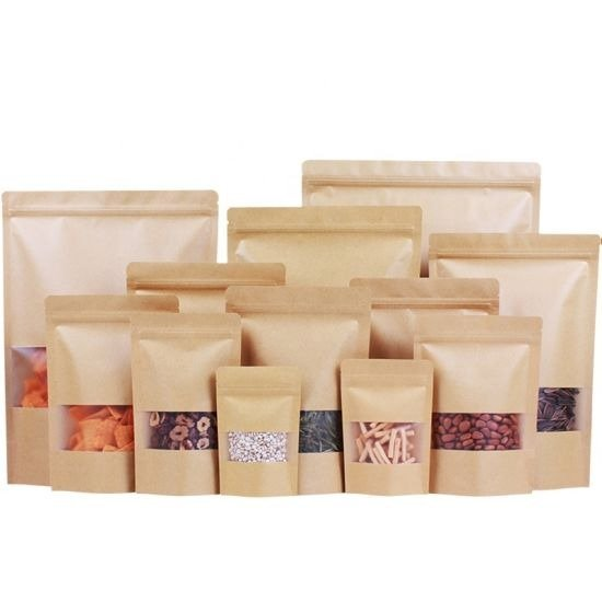kraft paper pouches with windows